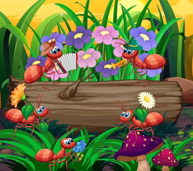 Banda musicale della formica che gioca nella foresta