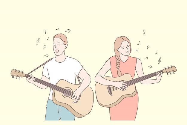 Banda musicale suonare il duetto di chitarra cantando il concetto