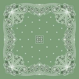 Bandanna paisley ornament design con foglia di cannabis