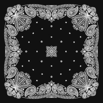 Bandanna paisley ornament design in bianco e nero con foglia di cannabis