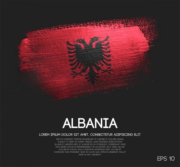 Bandiera albania realizzata con glitter scintillio pennello
