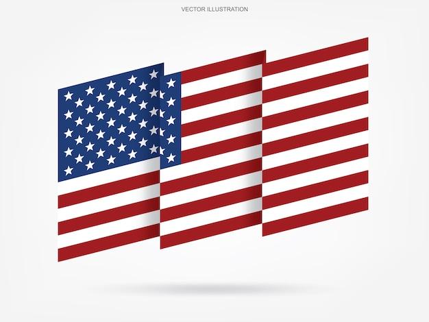 Bandiera americana astratta su sfondo bianco.