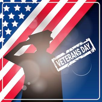 Bandiera americana di festa nazionale di celebrazione di festa dei veterani con la siluetta del soldato sopra la bandiera degli sua
