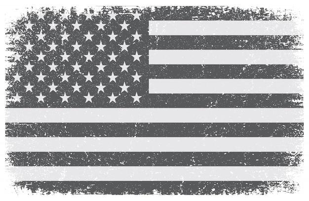 Bandiera americana in bianco e nero di lerciume