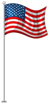 Bandiera americana su palo di metallo