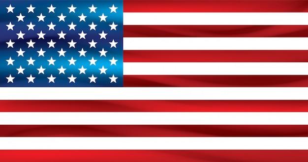 Bandiera americana su sfondo bianco.