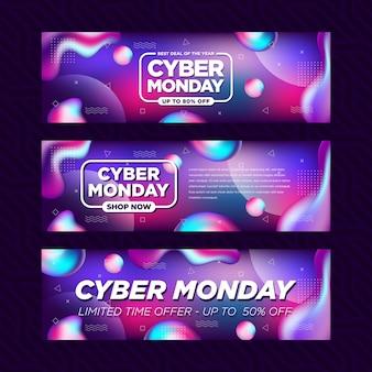 Bandiera astratta fluida di vendita di grandi affari di lunedì di cyber