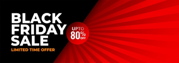 Bandiera astratta rossa e nera di black friday