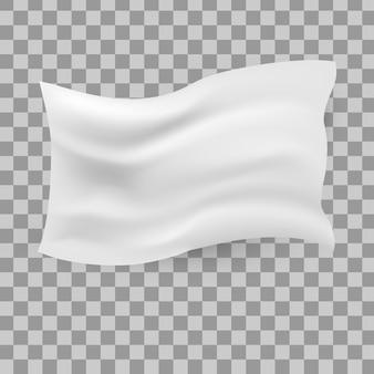 Bandiera bianca sventolante. pulire la tela orizzontale