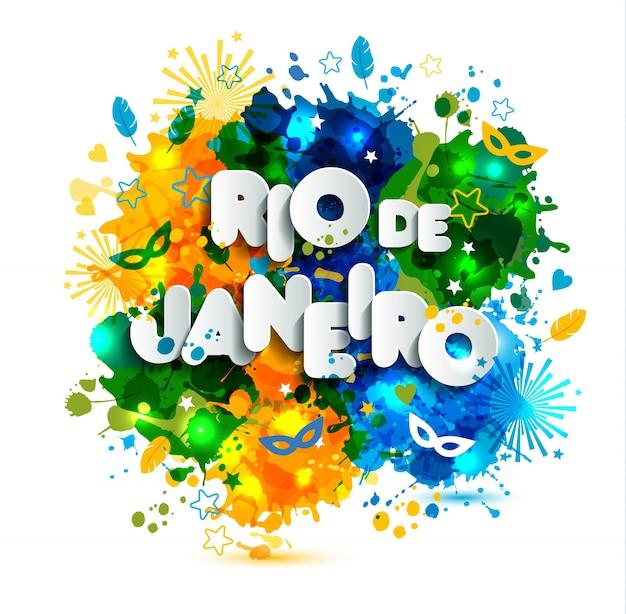 Bandiera brasiliana, carnevale del brasile, pitture ad acquerelli. estate, colore dell'inchiostro disegnato a mano.
