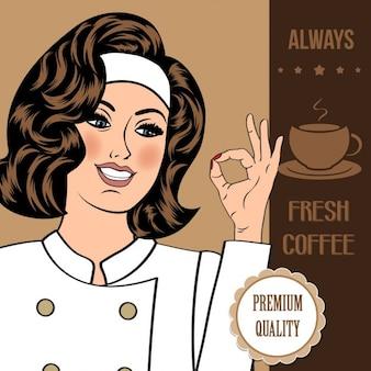 Bandiera caffè con una bella donna chef