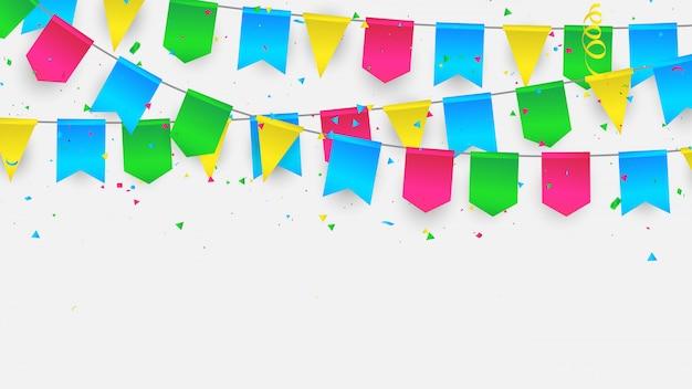 Bandiera confetti cornice di nastri colorati.