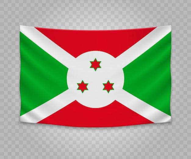 Bandiera d'attaccatura realistica del burundi