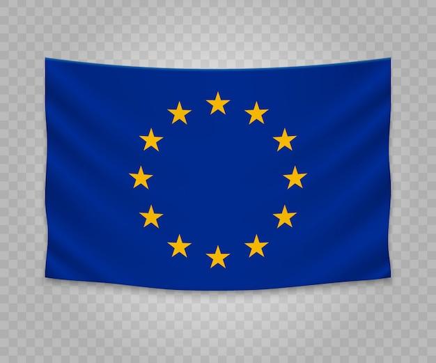Bandiera d'attaccatura realistica dell'unione europea