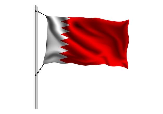Bandiera d'ondeggiamento del bahrain sull'asta della bandiera su bianco