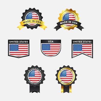Bandiera degli stati uniti con etichette distintivo dell'emblema