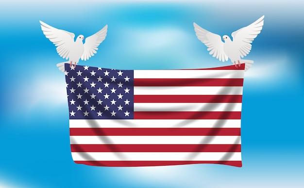 Bandiera degli stati uniti con piccioni bianchi