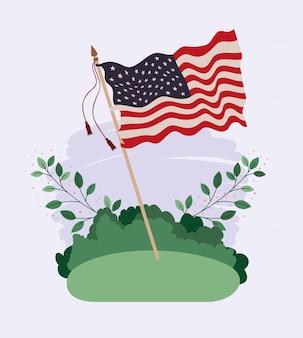 Bandiera degli stati uniti d'america che ondeggia nel campo