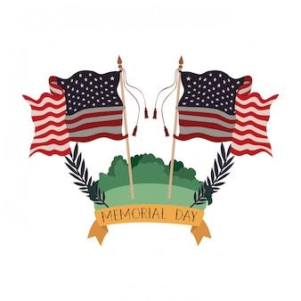 Bandiera degli stati uniti nel paesaggio
