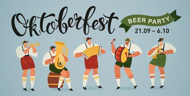 Bandiera dei musicisti di parata di apertura del festival della birra più grande del mondo di oktoberfest