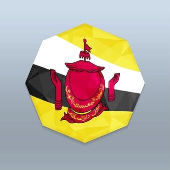 Bandiera del brunei con il vettore di progettazione octagone