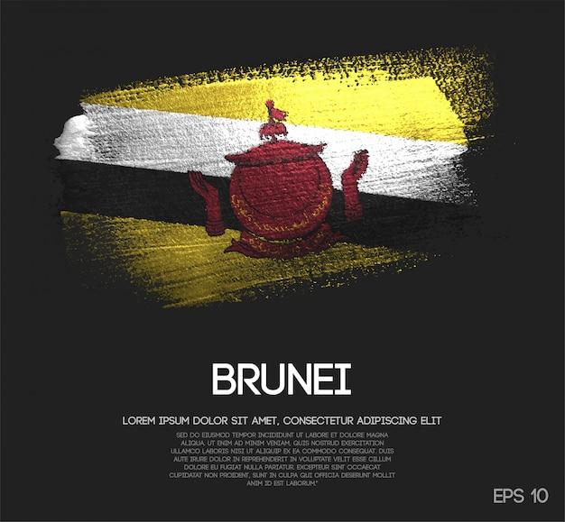 Bandiera del brunei fatta di scintillio sparkle brush paint vector
