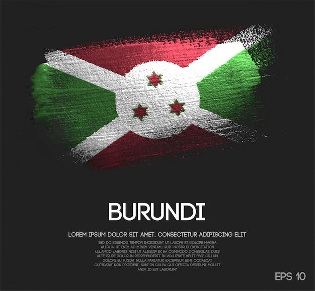 Bandiera del burundi fatta di glitter sparkle brush paint vector