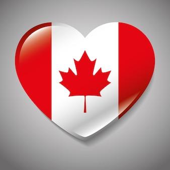 Bandiera del canada con progettazione dell'illustrazione di vettore di forma del cuore