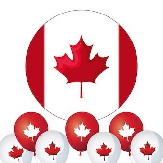 Bandiera del canada nel cerchio di forma con palloncini elio