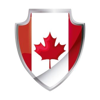 Bandiera del canada patriottica a forma di scudo