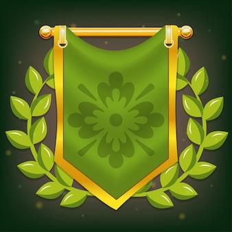 Bandiera del cavaliere con alloro e simbolo sul palo d'oro