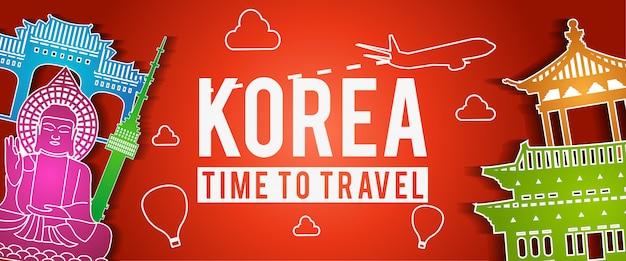 Bandiera del famoso punto di riferimento della corea