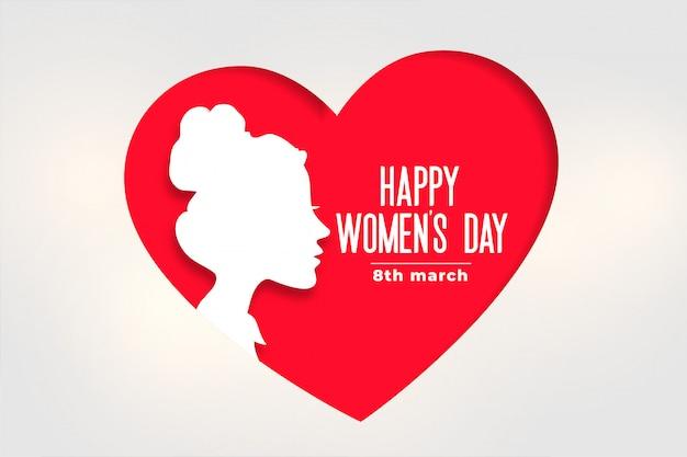 Bandiera del giorno delle donne felici con viso e cuore