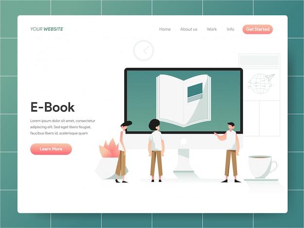 Bandiera del libro elettronico del concetto della pagina di atterraggio