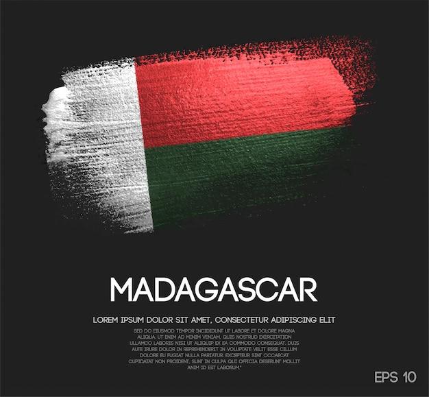Bandiera del madagascar fatta di glitter brush brush paint