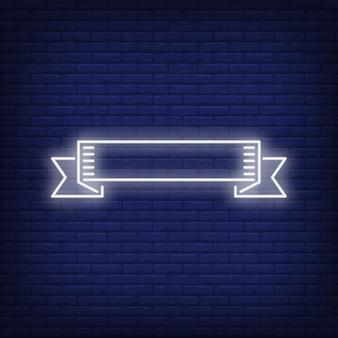 Bandiera del nastro bianco su sfondo di mattoni. illustrazione di stile al neon.