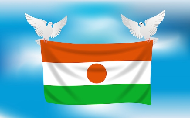 Bandiera del niger con piccioni bianchi