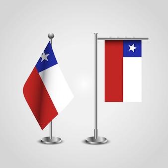 Bandiera del paese cile su pole