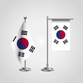 Bandiera del paese di corea del sud su palo