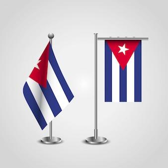 Bandiera del paese di cuba in pole