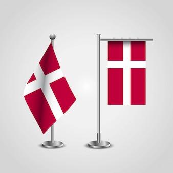 Bandiera del paese di danimarca sul palo