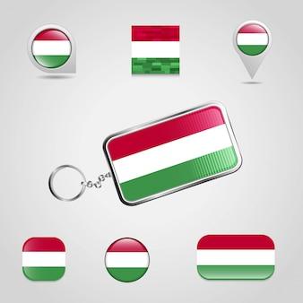 Bandiera del paese ungheria su stile portachiavi e mappa pin diverso