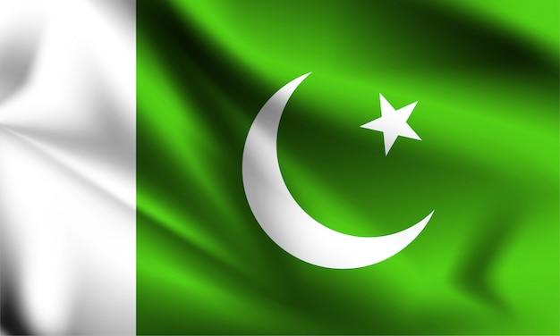 Bandiera del pakistan che soffia nel vento. parte di una serie. pakistan sventolando la bandiera.