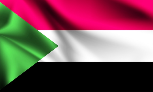 Bandiera del sudan che soffia nel vento. parte di una serie. bandiera sventolante del sudan.