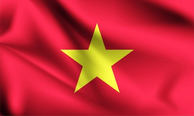 Bandiera del vietnam che soffia nel vento.