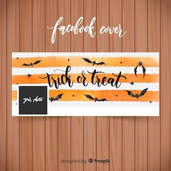 Bandiera dell'acquerello di facebook con il concetto di halloween