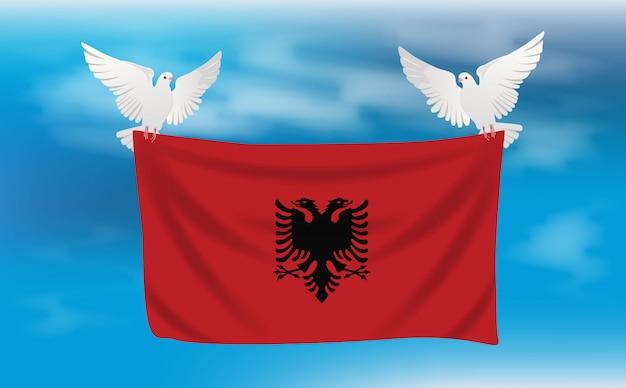 Bandiera dell'albania con piccioni bianchi