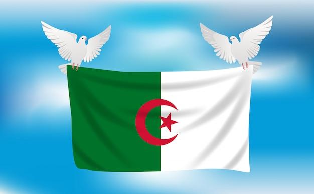 Bandiera dell'algeria con piccioni bianchi
