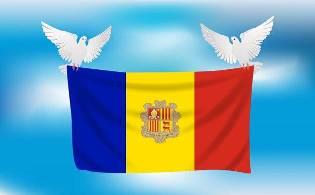 Bandiera dell'andorra con piccioni bianchi