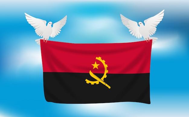 Bandiera dell'angola con piccioni bianchi